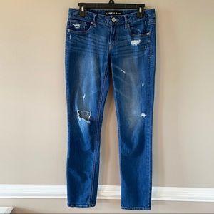 Express Skinny Stella Low Rise Medium Wash Distressed Skinny Jeans